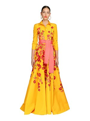 Carolina Herrera Embroidered silk faille shirt gown