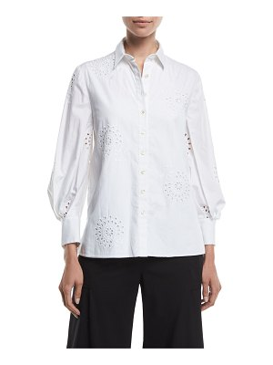 Carolina Herrera Eyelet Embroidered Poplin Button-Front Shirt