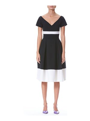 Carolina Herrera Fit-and-Flare Bicolor Wool-Blend Dress