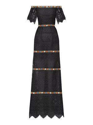 Carolina Herrera floral-embroidered guipure-lace bardot dress