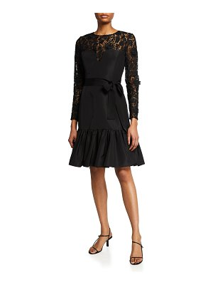 Carolina Herrera Floral Lace Belted Ruffle-Hem Dress