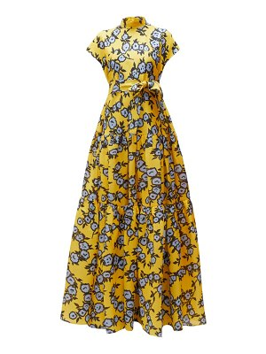 Carolina Herrera floral-print gathered silk-gazar gown