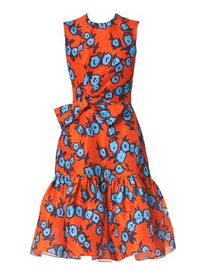 Carolina Herrera floral silk gathered bow dress