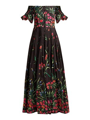 Carolina Herrera Off The Shoulder Floral Print Faille Gown