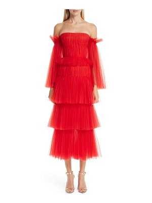Carolina Herrera off the shoulder pleated tulle dress