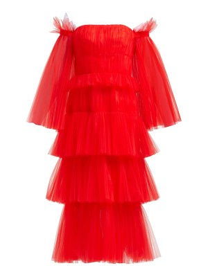 Carolina Herrera Off The Shoulder Tiered Tulle Midi Dress