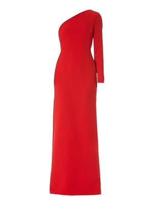 Carolina Herrera one-shoulder draped silk gown