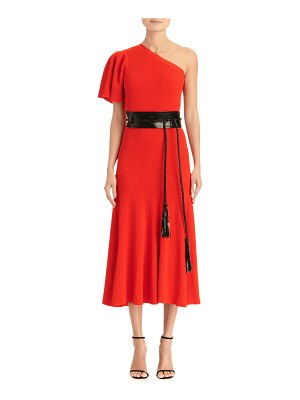 Carolina Herrera One-Shoulder Flutter Sleeve Knit Dress