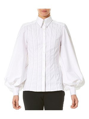 Carolina Herrera Puff-Sleeve Button-Front Shirt