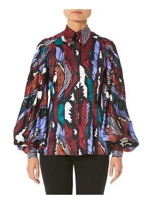 Carolina Herrera Puff-Sleeve Printed Button-Front Shirt