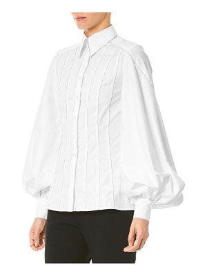 Carolina Herrera Puff-Sleeve Stitched Shirt