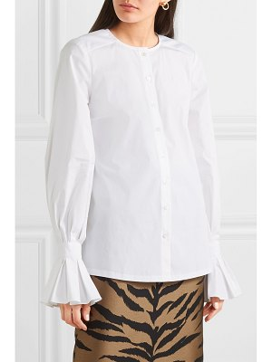 Carolina Herrera ruffled cotton-blend poplin shirt