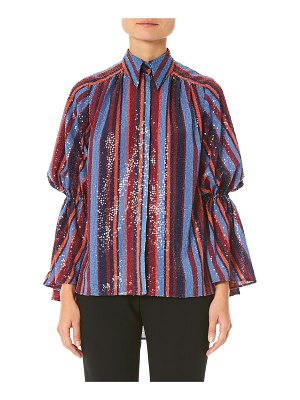 Carolina Herrera Sequined Puff-Sleeve Button Front Shirt