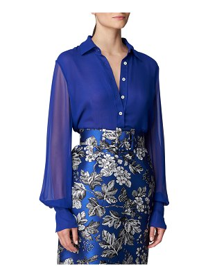 Carolina Herrera Sheer-Sleeve Button-Down Shirt