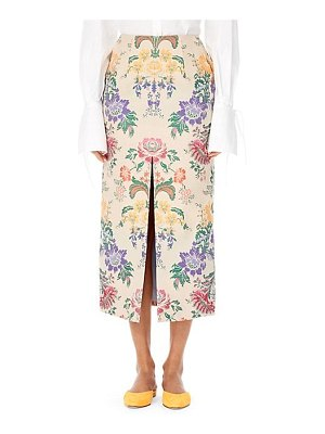 Carolina Herrera silk floral pencil skirt