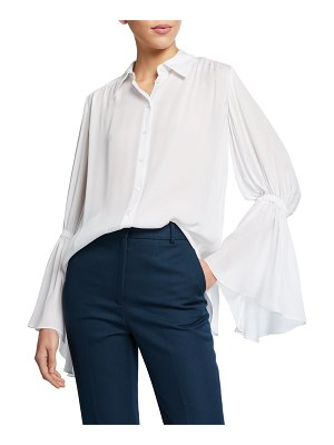 Carolina Herrera Silk Gathered-Sleeve Button-Front Shirt