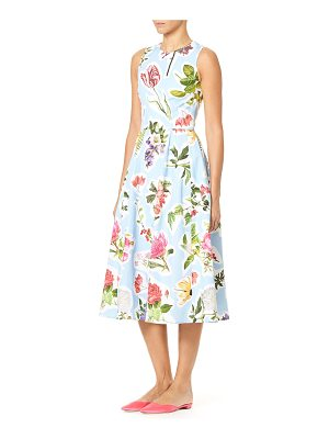 Carolina Herrera Sleeveless Floral-Print Cotton Faille Fit-and-Flare Midi Dress