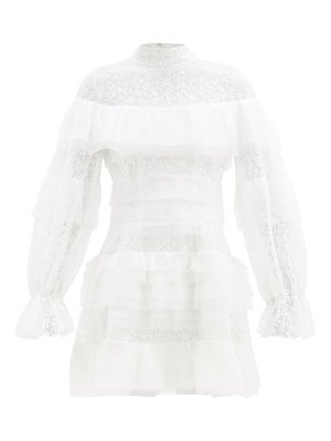 Carolina Herrera tiered floral-embroidered tulle dress