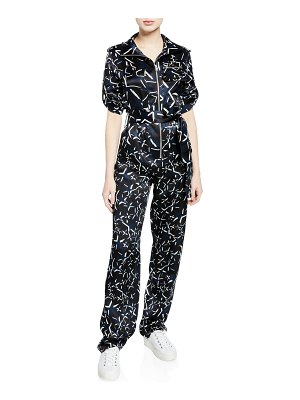 Carolina Ritzler Benjamin Long-Sleeve Printed Jumpsuit