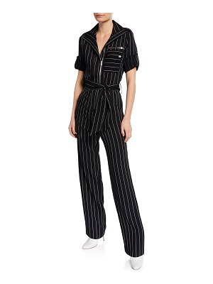 Carolina Ritzler Benjamin Rolled-Sleeve Stripe Jumpsuit