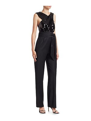 Carolina Ritzler crossover sequin belted jumpsuit