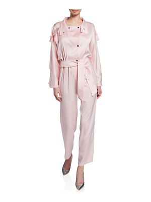 Carolina Ritzler Dallas Utility-Style Satin Jumpsuit