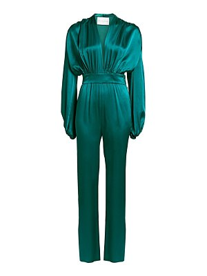 Carolina Ritzler deep v-neck billowed satin jumpsuit