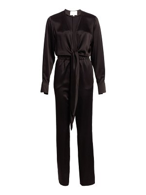 Carolina Ritzler deep v-neck tied satin jumpsuit