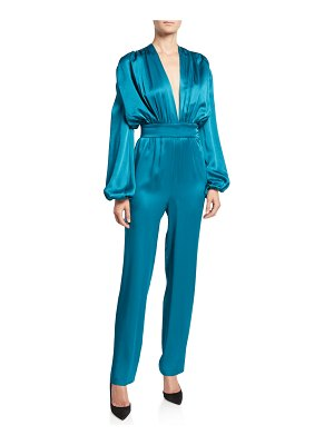 Carolina Ritzler Esmeralda Satin Full-Sleeve Jumpsuit
