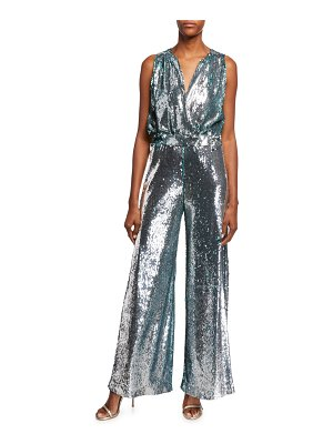 Carolina Ritzler Irma Sleeveless Surplice Wide-Leg Allover Sequin Jumpsuit