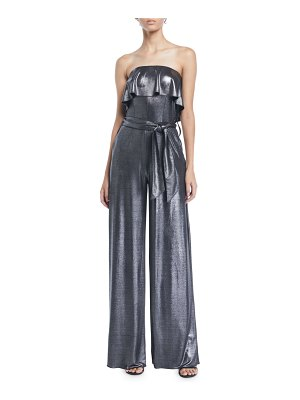 Carolina Ritzler Julie Ruffle Strapless Wide-Leg Metallic-Jersey Jumpsuit