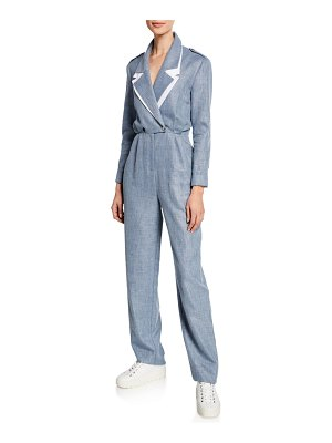 Carolina Ritzler Katia Double-Collar Linen/Wool Jumpsuit