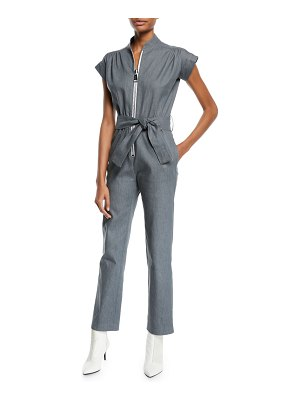 Carolina Ritzler Soul Large-Zip Cap-Sleeve Straight-Leg Denim Jumpsuit