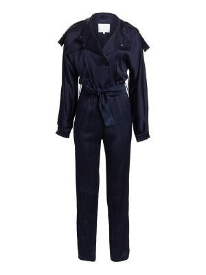 Carolina Ritzler long-sleeve tie-waist satin jumpsuit