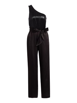 Carolina Ritzler one-shoulder belted lamé satin jumpsuit