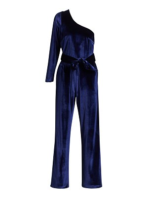 Carolina Ritzler one-shoulder velvet belted jumpsuit