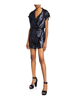 Carolina Ritzler Paola Short Sequin Jumpsuit