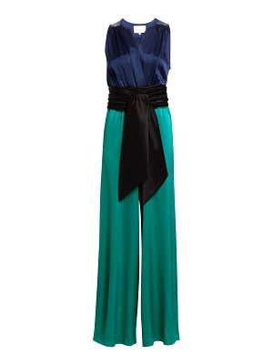 Carolina Ritzler sleeveless tie-waist satin jumpsuit