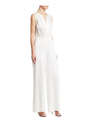 Carolina Ritzler sleeveless v-neck crepe satin jumpsuit