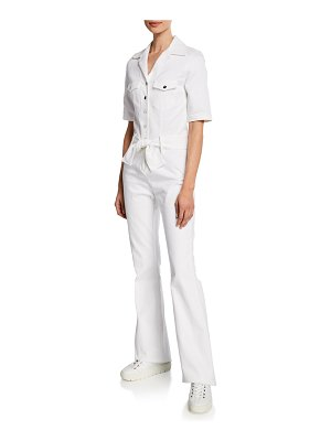 Carolina Ritzler Sophia Short-Sleeve Snap-Front Jumpsuit