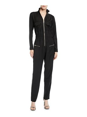 Carolina Ritzler Zip-Front Long-Sleeve Straight-Leg Jumpsuit w/ Sequin Tux Sides
