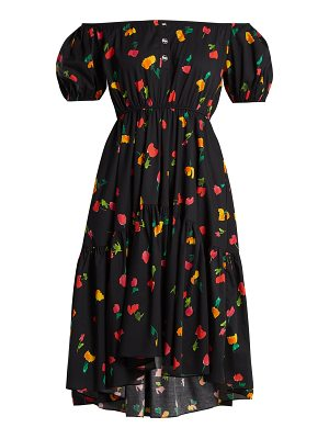 Caroline Constas Bardot floral-print cotton-blend dress