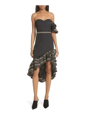 Caroline Constas cam embroidered asymmetrical ruffle dress