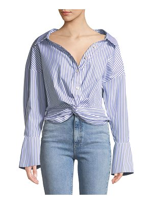 Caroline Constas Kos Open-Neck Button-Down Tie-Front Striped Top