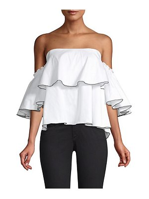 Caroline Constas liza flounced off-shoulder top