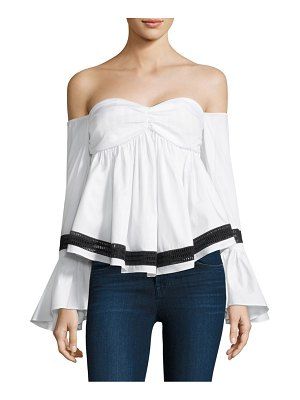 Caroline Constas Max Off-The-Shoulder Bell-Sleeve Cotton Top
