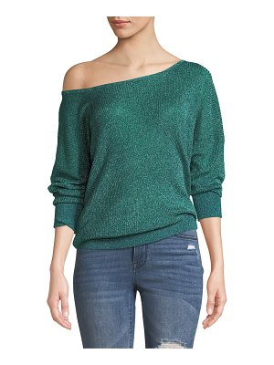Caroline Constas Ribbed Metallic Boat-Neck Sweater