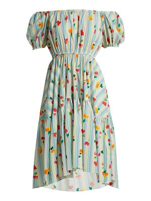 Caroline Constas Striped floral-print cotton-blend dress