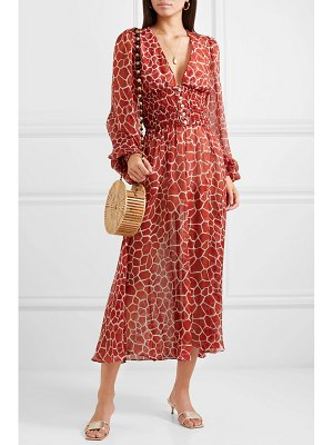 Caroline Constas syros smocked printed silk-chiffon midi dress