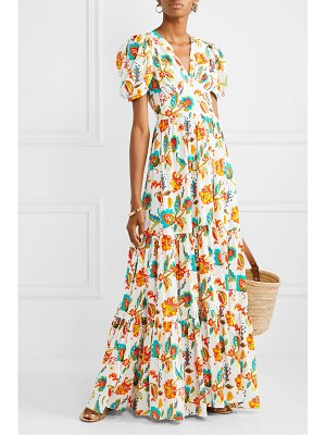Caroline Constas tiered floral-print cotton-voile maxi dress